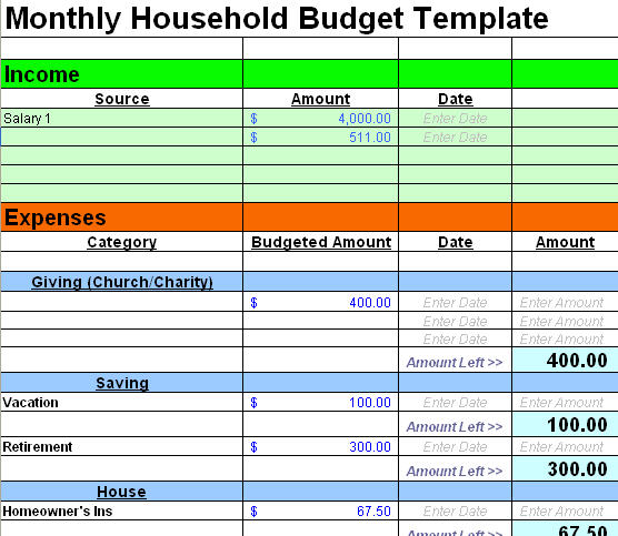 home budgeting template