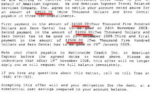American Express Sample Debt Settlement Agreement Letter