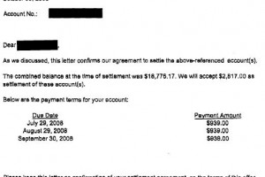 My Settlements – Sample Debt Settlement Letters