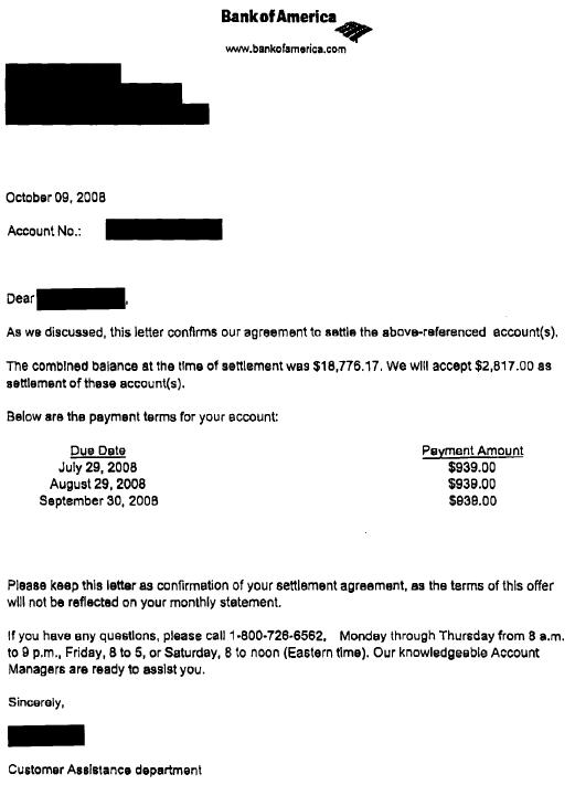 bank of america sample debt settlement letter leave debt behind