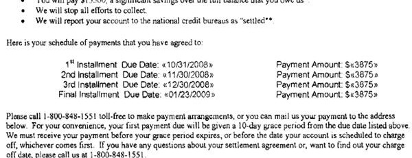 Chase Sample Debt Settlement Offer Letter Leave Debt Behind
