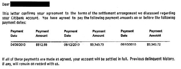 citicards citibank debt settlement letter