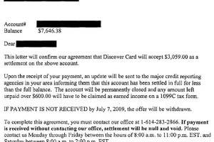 discover card sample debt settlement letter