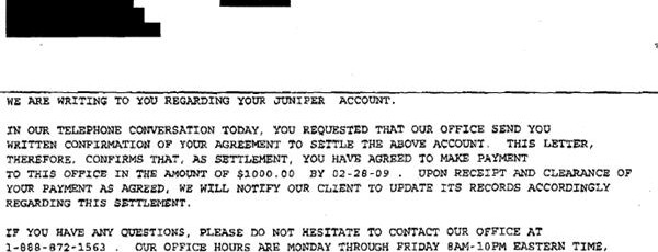 juniper bank sample debt settlement offer letter leave debt behind