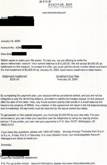 MBNA   Bank of America Settlement Letter   Leave Debt Behind